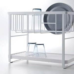 ツーウェイ水切りワイヤーバスケット 2段 タワー【キッチン収納/おしゃれ】ホワイトのかき混ぜ画像