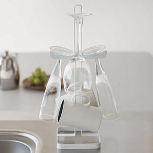 ワイングラス&マグカップツリー タワー(tower)【キッチン収納/おしゃれ】ホワイトの全体画像