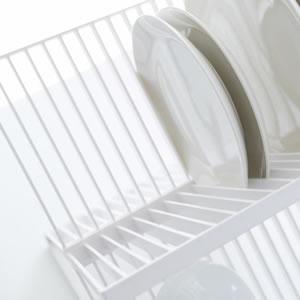 トレイ付きディッシュラック2段 タワー(tower)【キッチン収納/おしゃれ】ホワイトのディッシュ置き詳細画像