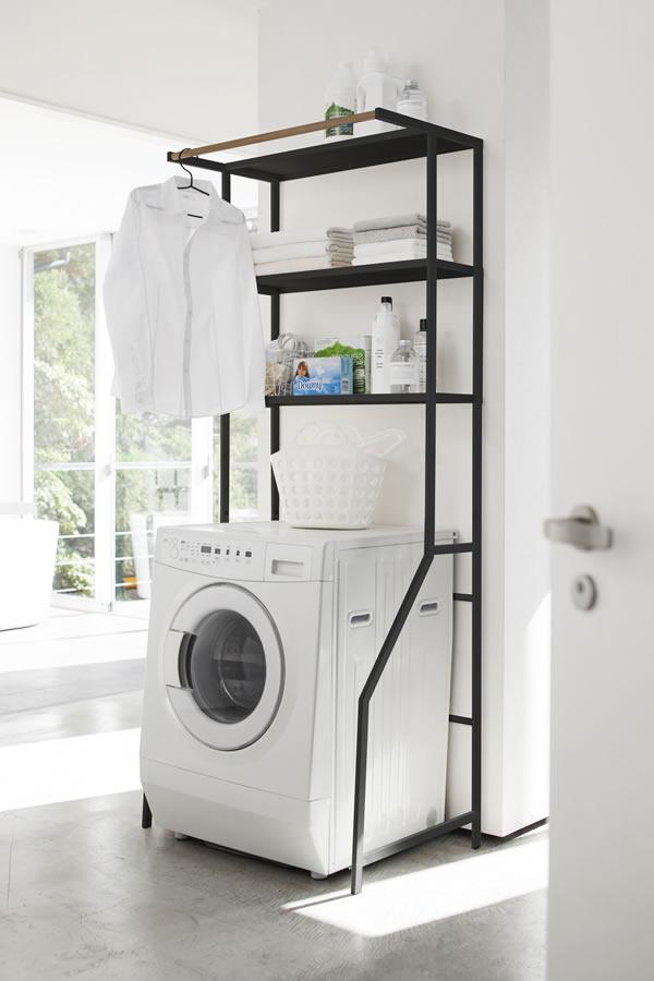 ランドリーシェルフ タワー【洗濯収納/おしゃれ】ブラックの全体画像
