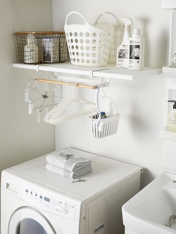 棚下ハンガー収納 トスカ【洗濯収納/おしゃれ】ホワイトの使用画像