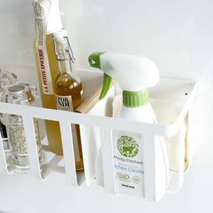 冷蔵庫横マグネットワイド収納バスケット トスカ【キッチン収納/おしゃれ】ホワイトの画像