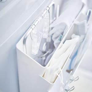 洗濯機横マグネット収納ポケット3段 タワー【洗濯収納/おしゃれ】ホワイトの画像