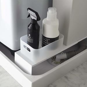 伸縮洗濯機隙間ラック タワー【ランドリー収納/おしゃれ】ホワイトの画像