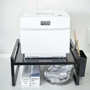 炊飯器ラック タワー【キッチン収納/おしゃれ】ブラックの使用画像