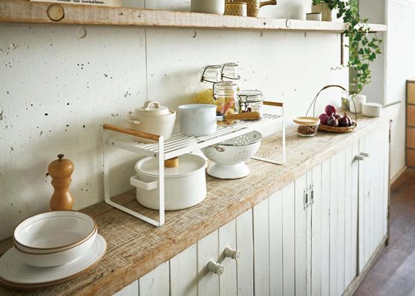 キッチン収納棚 トスカ【キッチン収納/おしゃれ】ホワイトの展示画像