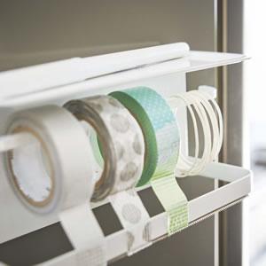 マグネットマスキングテープホルダー タワー【キッチン収納/おしゃれ】ホワイトの詳細画像
