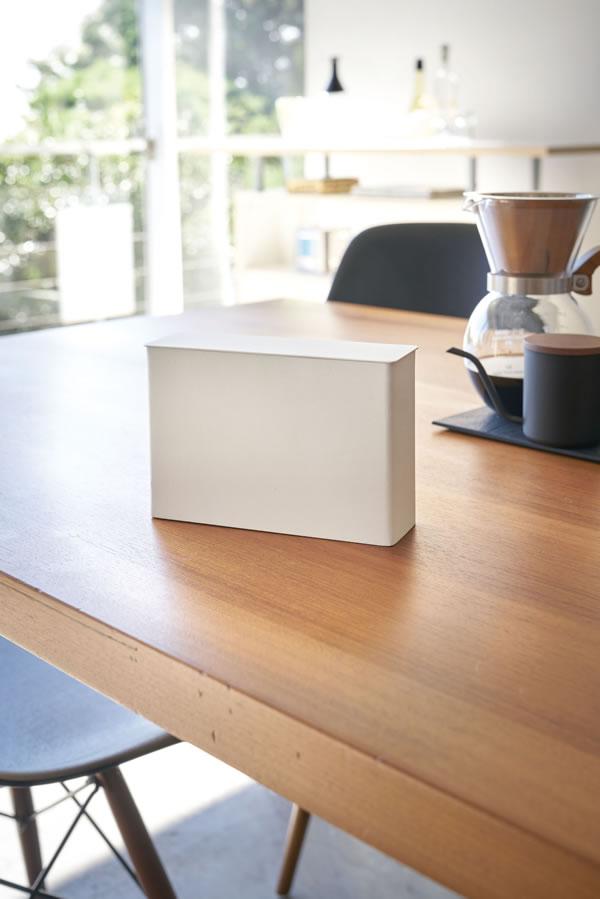 コーヒーペーパーフィルターケース タワー【キッチン収納/おしゃれ】ホワイトの展示画像