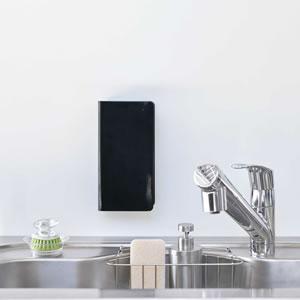 ゴム手袋収納ラック タワー【キッチン収納/おしゃれ】ブラックの使用画像