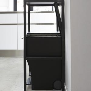 ゴミ箱上ラック タワー【キッチン収納/おしゃれ】ブラックのサイド画像