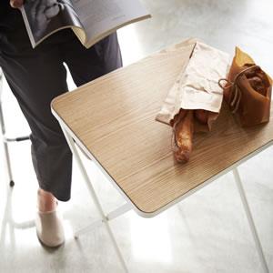 折り畳みテーブル タワー【リビング/ソファ】ホワイトの詳細画像
