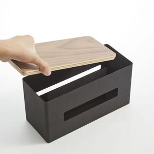 両面ティッシュケース リン【収納/おしゃれ】ブラックの使用画像