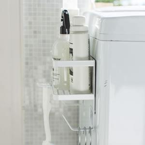 ホースホルダー付き洗濯機マグネットラック タワー【ランドリー収納/おしゃれ】ホワイトの詳細画像
