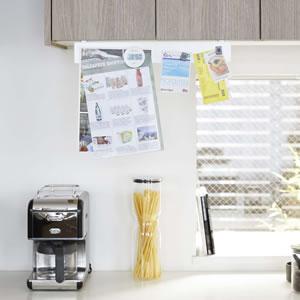 戸棚下フック付きマグネットボード タワー【キッチン収納/おしゃれ】ホワイトの詳細画像