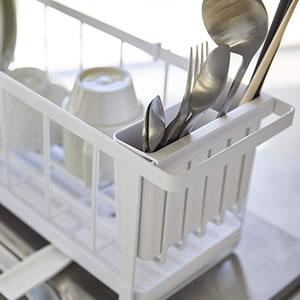 スリムツーウェイ水切りワイヤーバスケット タワー【キッチン収納/おしゃれ】ホワイトの詳細画像