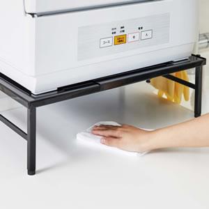 伸縮食洗機ラック タワー【キッチン収納/おしゃれ】ブラックの使用画像