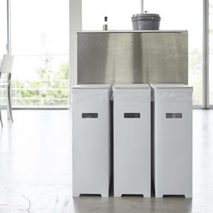 スリム蓋付きゴミ箱 タワー【キッチン収納/おしゃれ】ホワイトの詳細画像