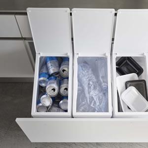 シンク下蓋付きゴミ箱 タワー【キッチン収納/おしゃれ】ホワイトの詳細画像
