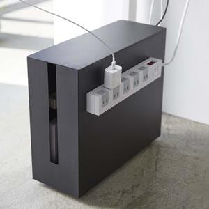 キャスター付きケーブル収納ラック タワー【ボックス/おしゃれ】ブラックの使用画像