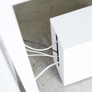 キャスター付きケーブル収納ラック タワー【ボックス/おしゃれ】ホワイトの詳細画像
