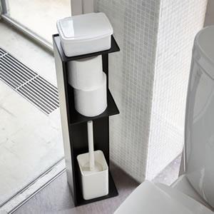 スリム トイレラック タワー【トイレ収納/おしゃれ】ブラックの使用詳細画像